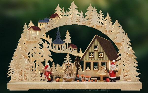 Schwibbogen Werkstatt Weihnachtsmann, echt Erzgebirge