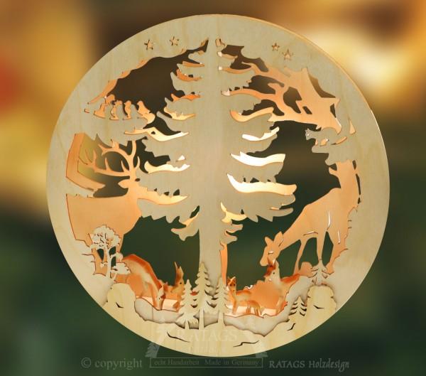 beleuchtetes Fensterbild Waldtiere, Deko, echt Erzgebirge