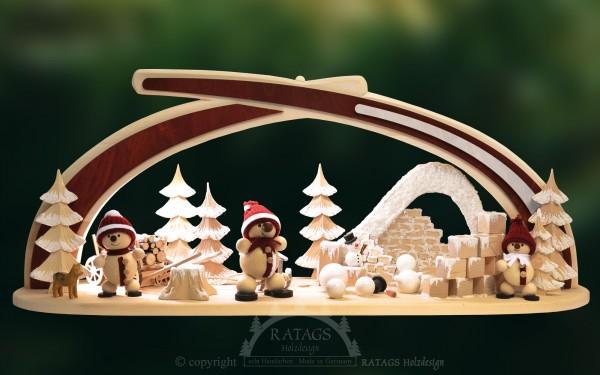 Massivholzbogen Schneemann, Weihnachten, echt Erzgebirge