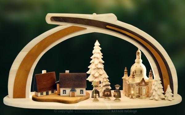 Massivholzbogen Frauenkirche, Weihnachten, echt Erzgebirge