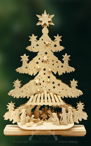 beleuchtete Tanne Christuskind, Weihnachten, echt Erzgebirge