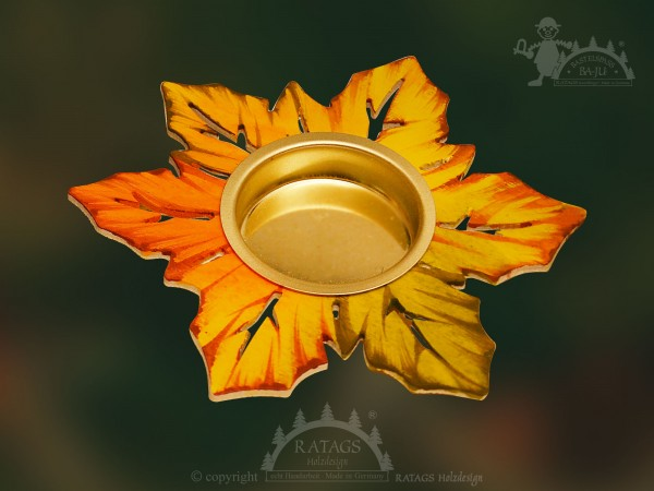 Tischschmuck, Laubblatt, Teelichthalter, Herbst