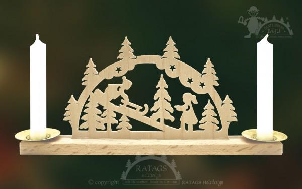 Mini Schwibbogen Winterkinder, Weihnachten, echt Erzgebirge