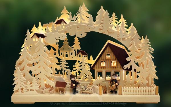 Schwibbogen Korbmacher Deko, Weihnachten, echt Erzgebirge