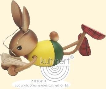Hasenjunge liegend mit Buch, Kuhnert, Ostern, echt Erzgeb.
