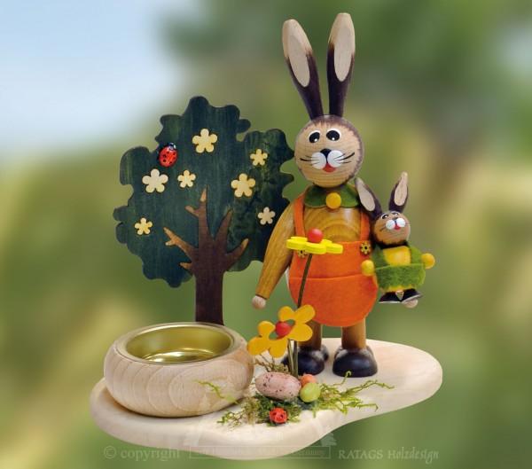 Tischschmuck Hasenmutter mit Kind, Ostern, echt Erzgebirge
