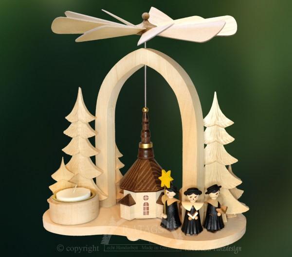 Massivholz Bogenpyramide, Weihnachten, echt Erzgebirge