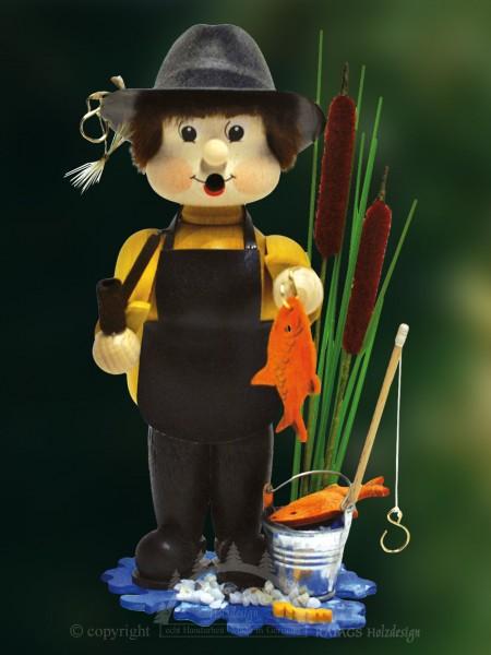 Raeuchermann Angler, Deko, Weihnachten, echt Erzgebirge