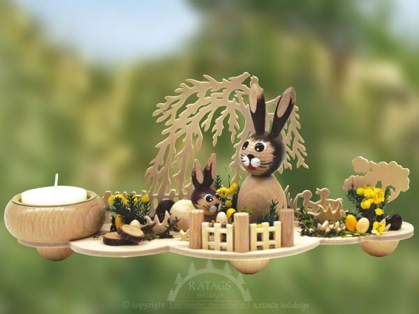 Tischschmuck Hasenwiese mit Weide, Ostern, echt Erzgebirge