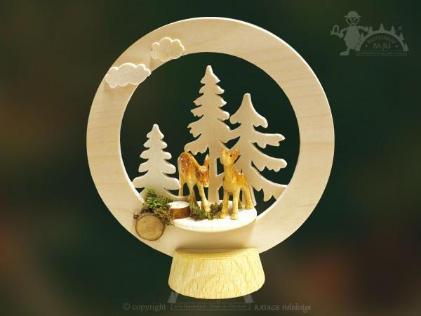 Tischschmuck Rehe Wald, Deko, Weihnachten, echt Erzgebirge