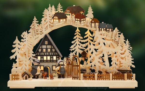 Schwibbogen Fachwerktraeume, Weihnachten, echt Erzgebirge