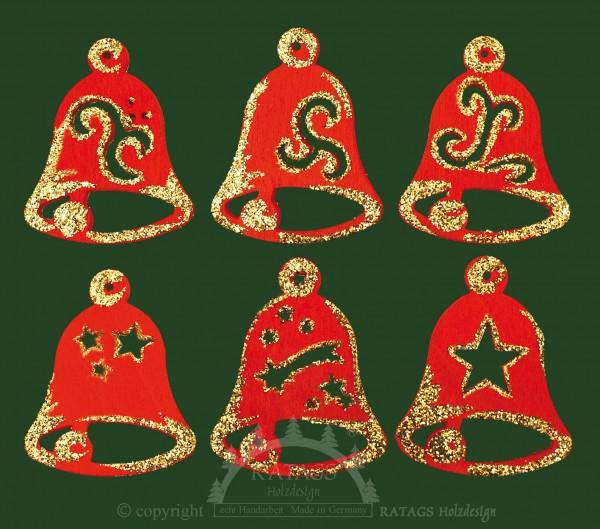 Baumbehang, Deko, echt Erzgebirge, Glocken, Goldglitter, rot