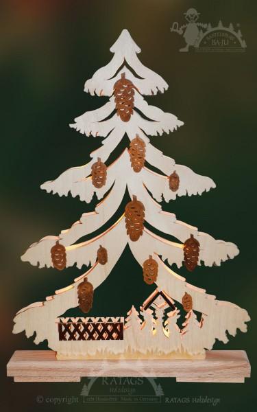 Tanne Waldtiere, Deko, Weihnachten, echt Erzgebirge