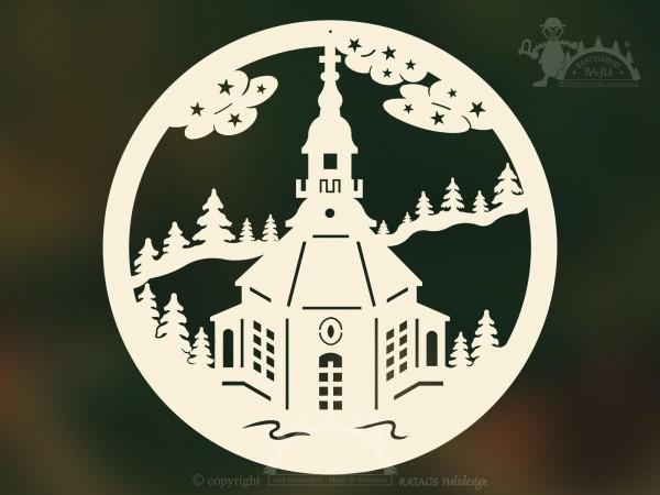 unbeleuchtetes Fensterbild Kirche, Deko, echt Erzgebirge