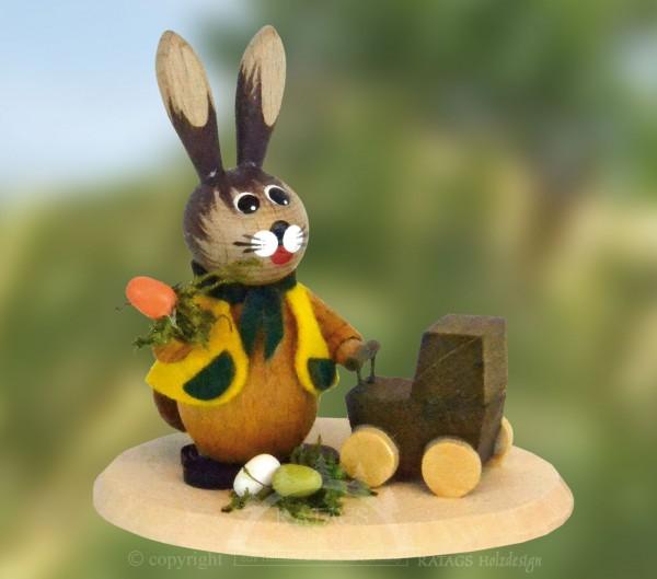 Hase mit Puppenwagen und Eiern, Ostern, echt Erzgebirge