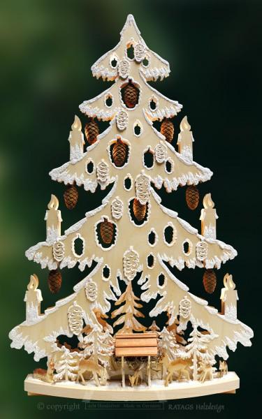 Tanne Futterstelle, Deko, Weihnachten, echt Erzgebirge