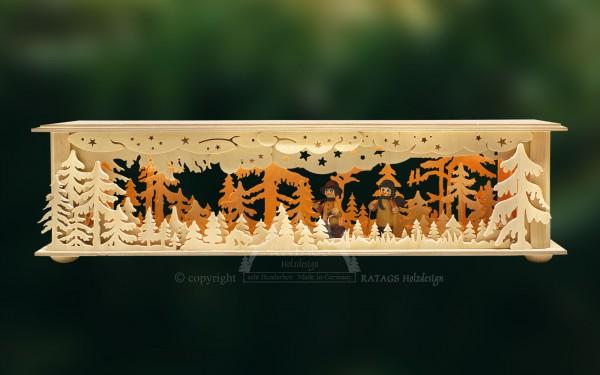 Raumleuchte Wald mit Waldarbeitern, Deko, echt Erzgebirge