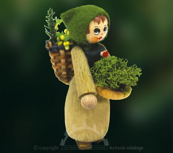 Figur, Moosfrau mit Schale und Huckkorb, Wald
