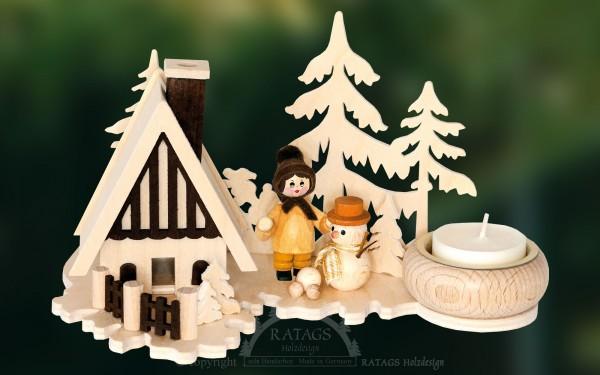 Räucherhaus, Winterkind, Schneemann, Teelicht, Weihnacht