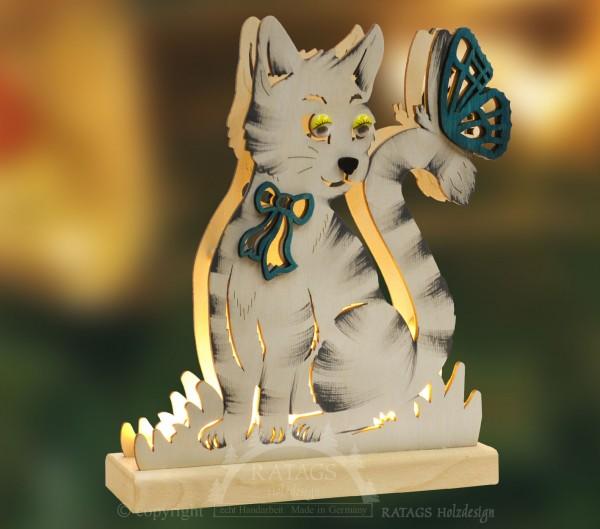 Romantikleuchte Tischlampe Katze, Deko, echt Erzgebirge
