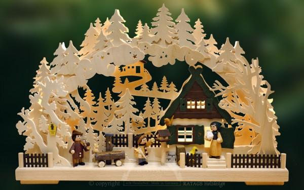 Schwibbogen Familienglueck, Weihnachten, echt Erzgebirge