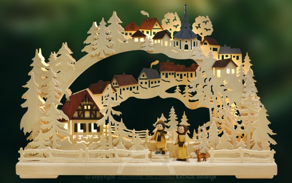 Schwibbogen Winterwanderung Weihnachten, echt Erzgebirge