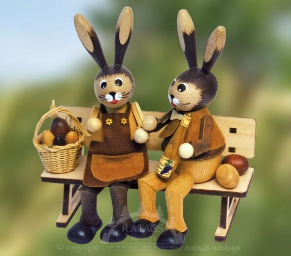 Hasenbank mit Korb und Ei, Ostern, echt Erzgebirge