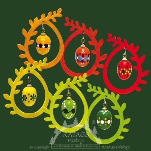 Baumbehang, 3D, Ei im Ei, gepunktet, farbig