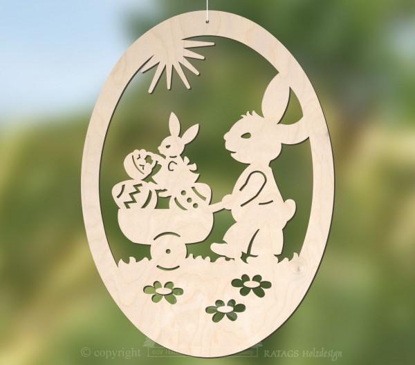Fensterbild Ostern mit Hasen und Karren, echt Erzgebirge