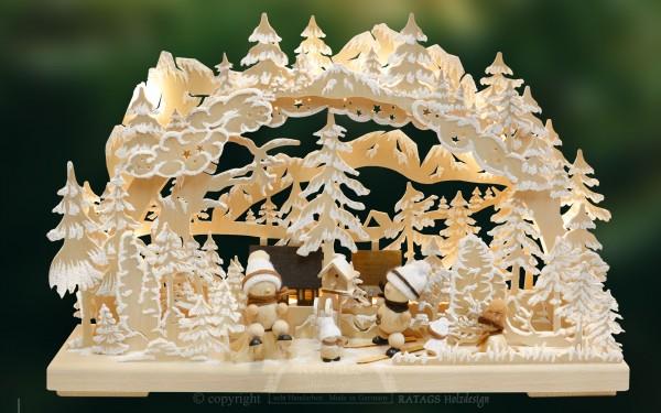 Schwibbogen Schneemaenner, Weihnachten, echt Erzgebirge
