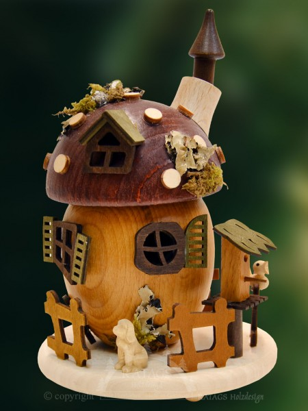 Raeucherhaus Pilz, Deko, Weihnachten, echt Erzgebirge