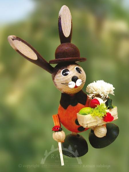 Wackelhase mit K=F6rbchen und Blume, Ostern, echt Erzgebirge