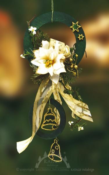 Fensterdeko, Floristik, Schleife, gold, Glocken, grüne Ringe
