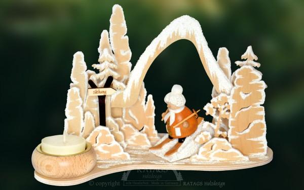 Tischschmuck Skihang, Deko, Weihnachten, echt Erzgebirge