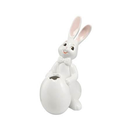 Osterhase, Ei als Vase, Porzellan, Frühling