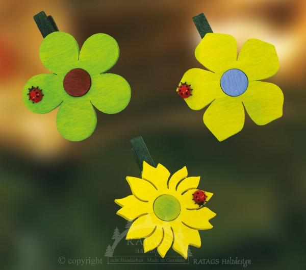 Ansteckklammer, Deko, Blume, echt Erzgebirge, grün