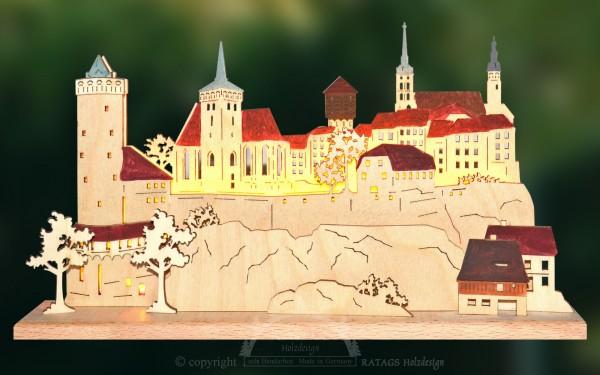 Schwibbogen Silhouette Bautzen, Deko, echt Erzgebirge