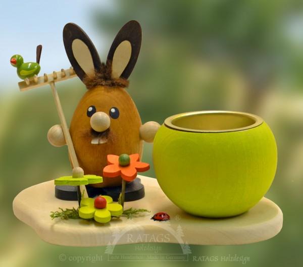 Teelichthalter Hase mit Rechen, Ostern, echt Erzgebirge