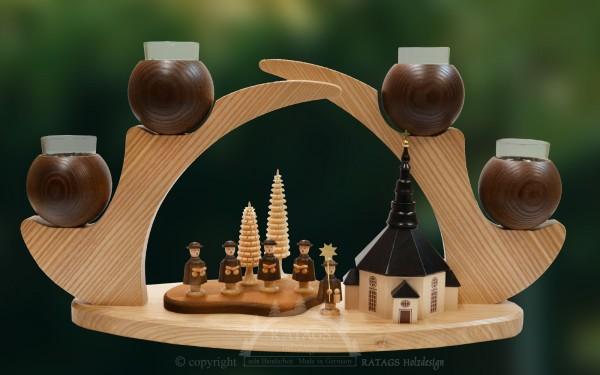 Massivholzleuchter, braun, Kurrendesänger, Advent