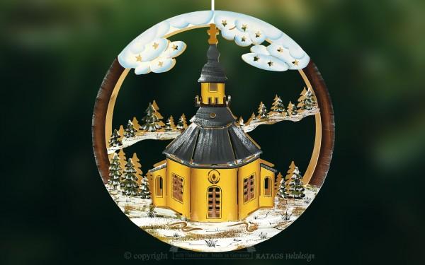 Fensterbild, Kirche Seiffen, handbemalt, Winter, Schnee