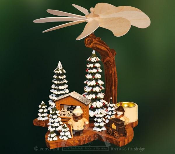 Blattpyramide Winter, Deko, Weihnachten, echt Erzgebirge