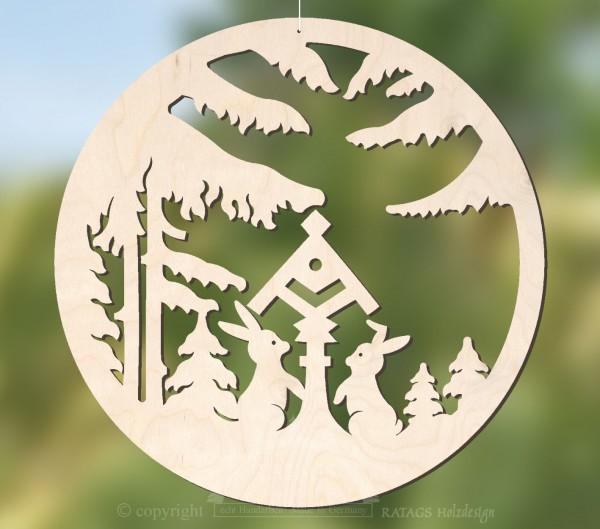 unbeleuchtetes Fensterbild Wald, Deko, echt Erzgebirge