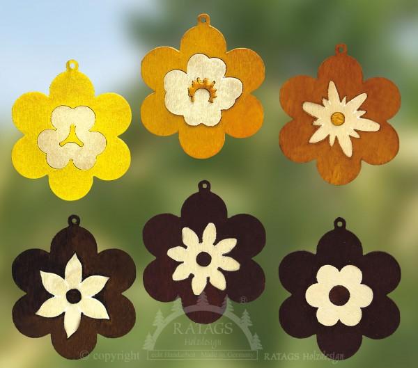 Baum- Strauchbehang, Deko, Intarsie, Blumen, farbig