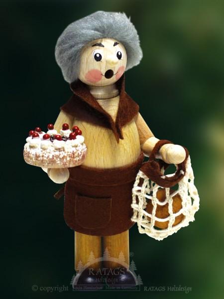 Raeuchermann Großmutter, Weihnachten, echt Erzgebirge