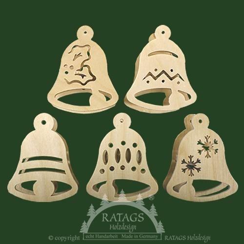 Baumbeleuchtung, Deko, Aufsteckstern, natur, Glocken, mini