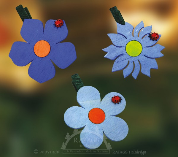 Ansteckklammer, Deko, Blume, echt Erzgebirge, blau
