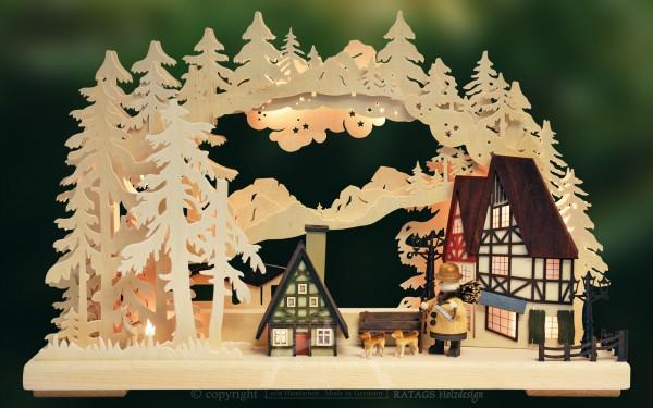 Schwibbogen Fachwerkhaeuser, Weihnachten, echt Erzgebirge