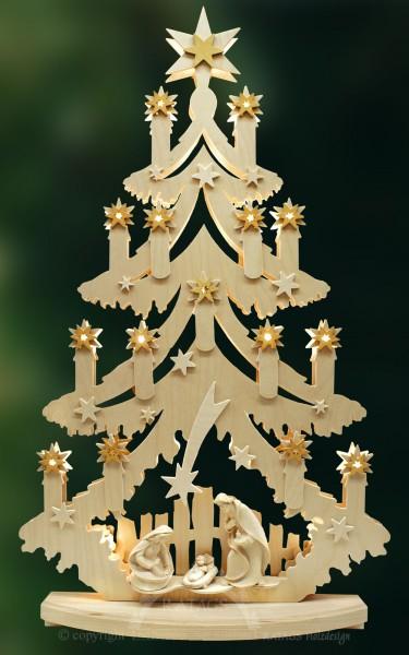 beleuchtete Tanne Tiroler Krippe Weihnachten echt Erzgebirge