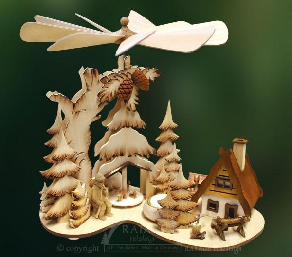 Tannenpyramide mit Raeucherhaus, Deko, echt Erzgebirge