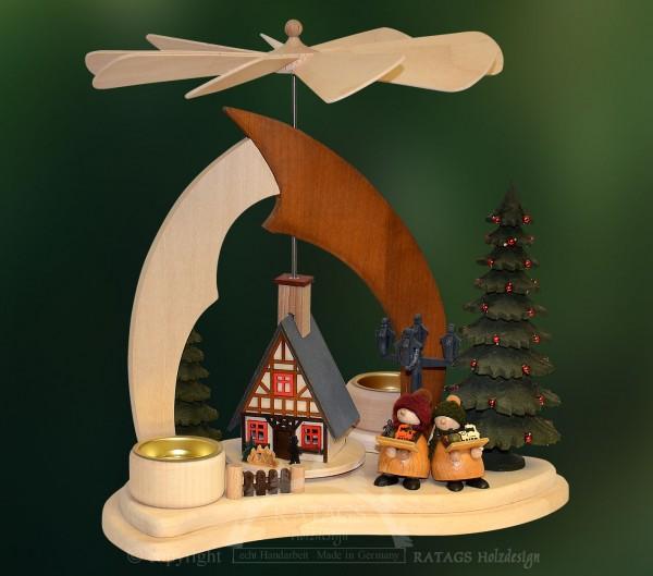 Massivholzpyramide, Deko Weihnachten, echt Erzgebirge